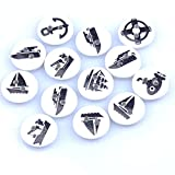 Wooden Buttons - 50pcs 2 Hole Mixed Navigation Painted Wooden Button Fit Sewing 15mm Craft Diy Mt1524 - Push Awkward Clit Woody