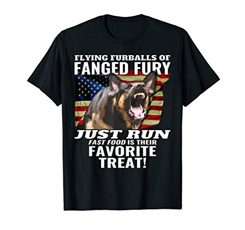 Flying Furballs of Fanged Fury! K9 LEO, Thin Blue Line Skull T-Shirt