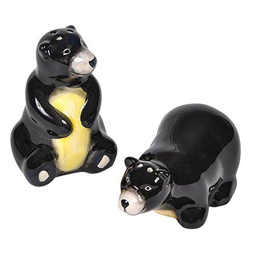 Souvenir Salt Pepper - MistCo Black Bear Ceramic Salt & Pepper Shaker Set / Hand-Painted / Unique Gift and Souvenir