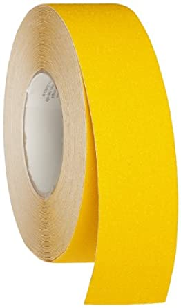 """Brady 60' Length, 2"""" Width, B-916 Grit-Coated Polyester Tape, Safety Yellow Color Anti-Skid Tape Roll Mounted"""