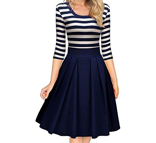 ZhiWanTing Damen Elegant Party Langarm Gestreift 3/4 Arm Schwingen Pinup Plissee Kleid (EU 40-42/L)