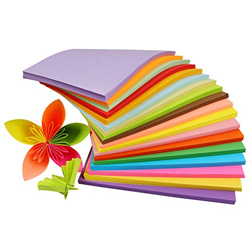 (100 Sheets A4 Size Square Colour Fold Paper Double Sided Folding Paper 10 Colors Origami Paper Iridescent Paper Children's Handmade DIY Crafts for Office Print Teach and Entertainment)