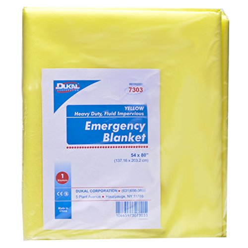 DUKAL Emergency Blanket, Yellow, Heavy Duty, Fluid Impervious, 50/Ca, DUK7303 by Dukal (Image #1)