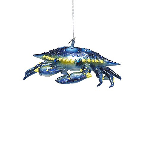 Kurt Adler Noble Gems Glass Blue Crab Ornament, (Noble Gems Glass Ornament)