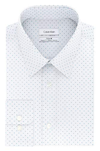 Calvin Klein Men's Dress Shirts Non Iron Regular Fit Stretch Print, Corn Flower, 15.5