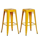 Adeco Sheet Iron Bright Color High Gloss Tolix-Style Barstool, Yellow (Set of two)