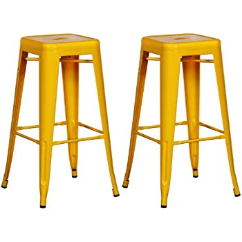 Adeco Sheet Iron Bright Color High Gloss Tolix Style Barstool (Set Of 2)