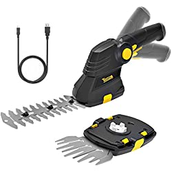 TECCPO Grass Shears, 3.6V Cordless Grass and Shrub Shears/Hedge Trimmer, 1.5Ah Rechargeable USB Lithium Battery 2 in 1 Fast Tool-Less Switch, with Pivoting Handle, Ideal for Garden - TDGS01G