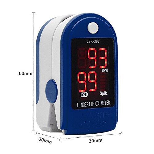 Dedo oxímetro de pulso Monitor de frecuencia cardíaca Sensor de SPO2 de saturación de oxígeno en sangre pantalla LED con bolsa de transporte, ...