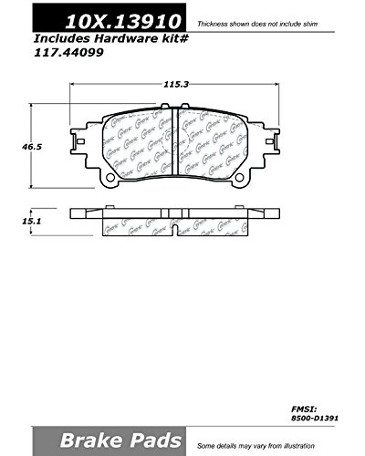 (NEW CENTRIC 105.13910 Posi-Quiet Ceramic Brake Pad with Shims)