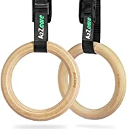 A2ZCARE Gymnastic Rings, Exercise Rings with Adjustable Buckle and Long Straps, Non-Slip Training Rings, Olymp