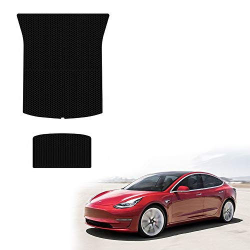 (Model 3 Trunk Mats All Weather Waterproof Model 3 Cargo Liners Compatible for Tesla Model 3 - Heavy Duty - Black Rubber Environmental Materials Car Carpet (2 Piece a Set) (Trunk mats+Storage mats))