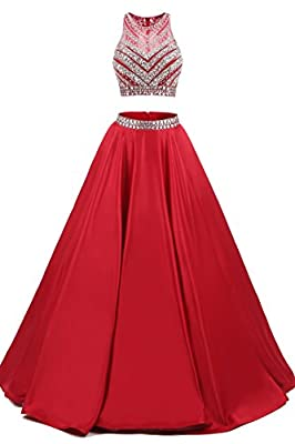 TrendProm Women's Prom Dresses Two Pieces Satin Beaded Evening Dresses