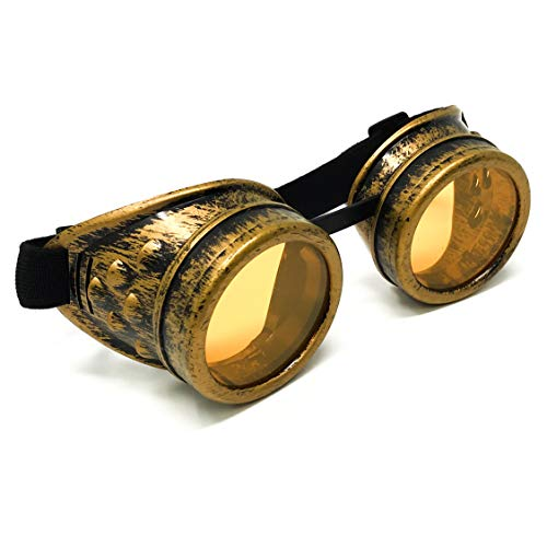 Steampunk Victorian Goggles Rave Glasses in Vintage Gold, Costume Accessory,UV Glow neon Orange -