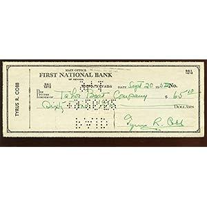 1962 Ty Cobb Signed Check PSA LOA MLB Cut Signatures