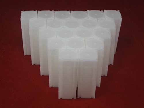 (20) Coinsafe Brand Square White Plastic (Quarter) Size Coin Storage Tube Holders