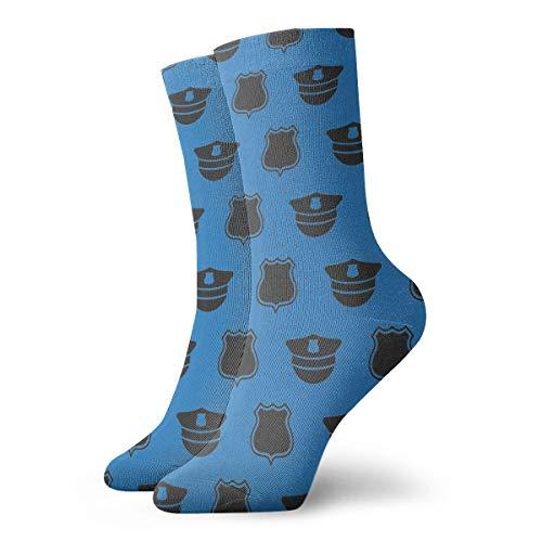 Police Cap Badge Pattern Crew Socks Tube Socks Novelty Dress Socks For Womens Mens -