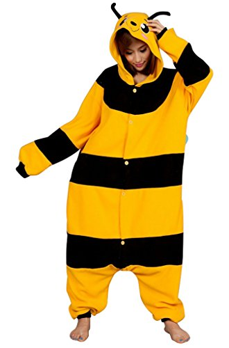 [Gillbro Anime Adult Animal Cosplay Costume Pajamas,Bumblebee,S] (Disney Cartoon Mad Hatter Costume)