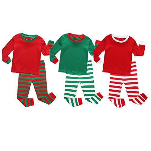TinaLuLing Boys and Girls Stripe Pajamas Chirstmas Pajamas Children Cotton Sleepwear Striped Pyjamas for Kids