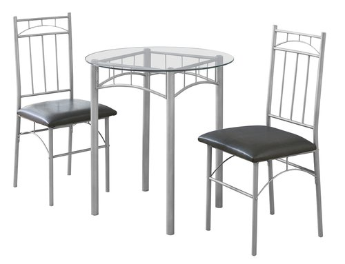 DINING SET - 3PCS SET SILVER METAL TEMPERED GLASS