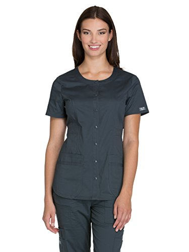 (Cherokee Workwear Core Stretch WW683 Round Neck Top Pewter M )
