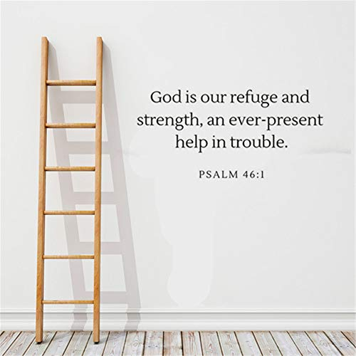 Umondon Wall Art Decor Decals Removable Mural God is Our Refuge and Strength and Ever-Present Help in Trouble Bible Verse for Bedroom Living Room]()