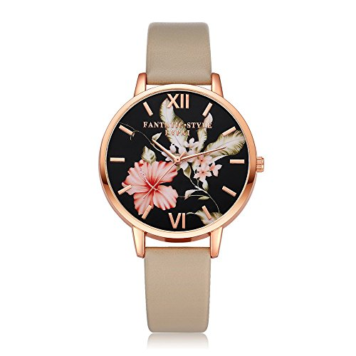 (Loweryeah PU Leather Strap Black Dial Watch Lady Watch)