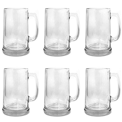 Set of 6 Large 15oz Beer Glass Mug With Handle, BrewMaster (Ultimate Guys Gift) Dishwasher Safe for Indoor/Outdoor Use - Made in USA