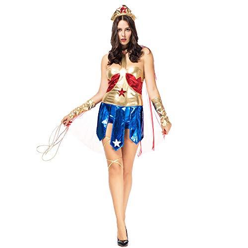 LVLUOYE Halloween Comic Hero Character Playing Uniform, Wonder Woman Super Heroine, Stage -