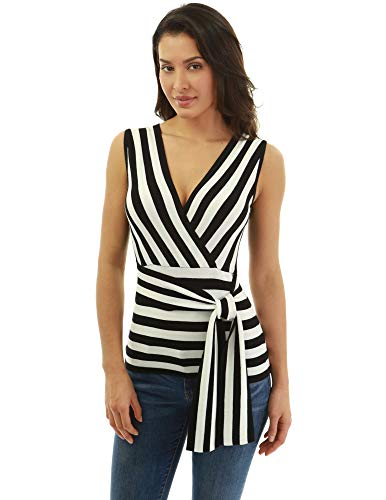 PattyBoutik Women Striped Crossover Sleeveless Knit Top (Black and Ivory Large)