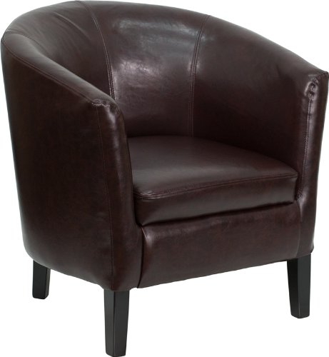 Flash Furniture Brown Leather Barrel Shaped Guest Chair by Flash Furniture