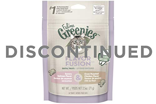 DISCONTINUED: FELINE GREENIES FLAVOR FUSION Dental Treats for Cats Savory Salmon and Oven Roasted Chicken Flavors 2.5 oz.