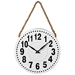 Midwest-CBK Black & White Enamel Wall Clock with Rope Hanger 157933