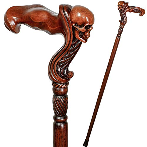 GC-Artis Wooden Walking Cane with Skull Head Ergonomic Palm Grip Handle 36