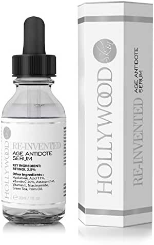 Hollywoodskin 2.5% Retinol serum–4x STRONGER than regular anti-aging and acne treatments. With 11% Hyaluronic Acid and 20% Vitamin C, highest strength. 30ml (1 Bottle)