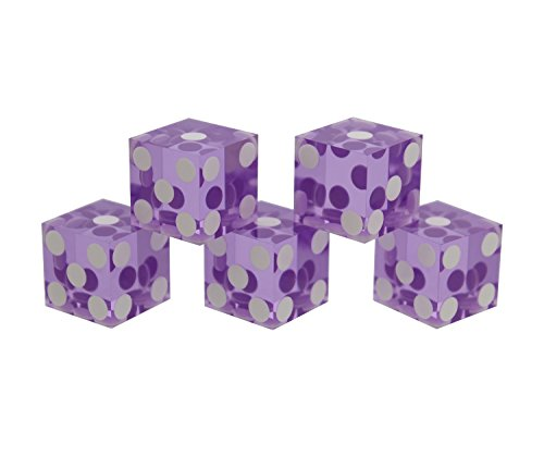 (Get Out! Precision Casino Dice 6-Sided 19mm Game Playing Dice, Translucent Purple, Set of 5 for Craps, DND D&D, RPG, D6)