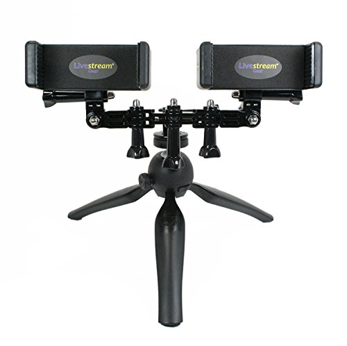 Live Stream Gear - Dual Phablet Tripod Setup for Live Stream or Video, to Fit Large Sized Devices Like iPhone 6/7 Plus, or Galaxy Note. Great for Facebook Live or YouTube. (Dual Phablet Tripod) ()