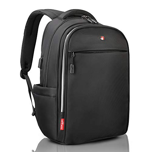 "Laptop Backpack black RFID Blocking - Travel Backpack USB quick charge - SWISS Design 15/17"" Business College School Waterproof Backpack for Men Women, new model"