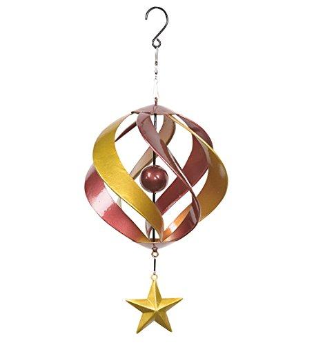 - Red Hanging Metal Spiral Wind Spinner Outdoor Garden Sculpture Kinetic Yard Art 9 Dia. x 19.25 H