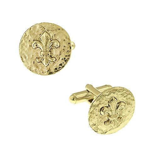 1928 Jewelry Unisex Gold-Tone Hammered Fleur De Lis Cufflinks