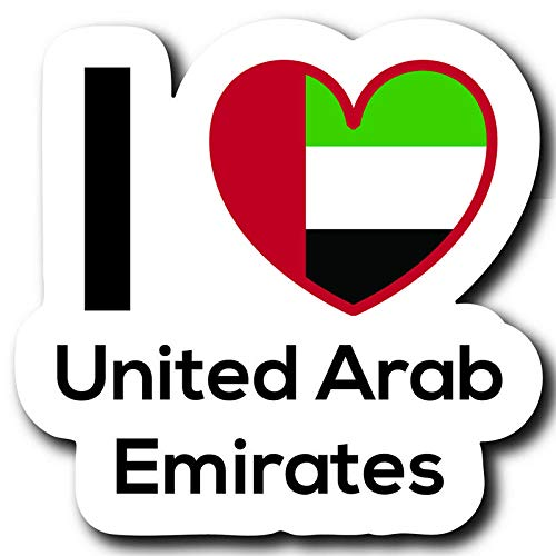 (Love United Arab Emirates Flag Decal Sticker Home Pride Travel Car Truck Van Bumper Window Laptop Cup Wall - Two 3 Inch Decals - MKS0307)