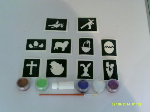 Easter glitter tattoo set including 40 stencils + 5 glitter colors + glue bunny egg Jesus cross bonnet chick by Dazzle Glitter Tattoos (Image #1)