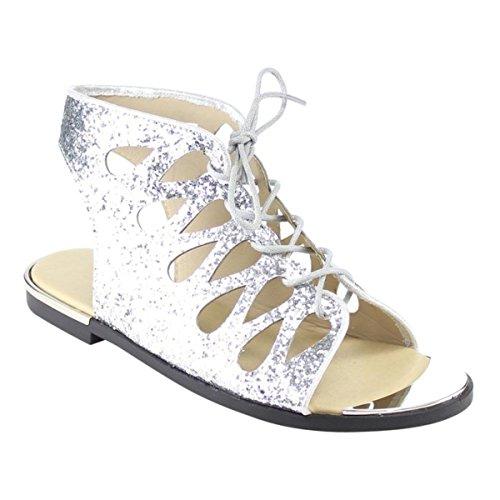 Sandalo Con Lacci Glitter Scintillanti Da Donna Aperti In Glitter Argento 6-10