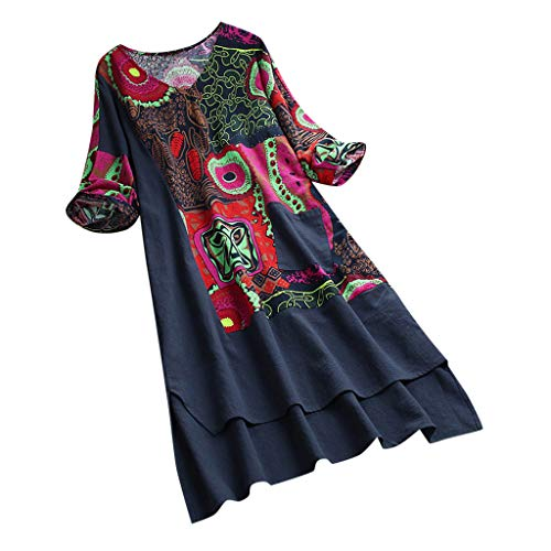 ☀️EDC Women's Vintage Patchwork Boho Printing Half Sleeves Beach Dresses High Low Hem Midi Casual Loose Dress with Pocket (Navy, XXL)