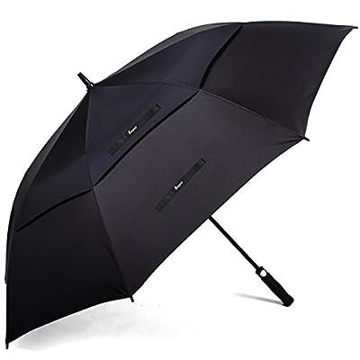 "Oversized Windproof Golf Umbrella - Bisgear 62"" Automatic OpenExtra Large Double Canopy VentedOutdoorTravel Umbrellas"