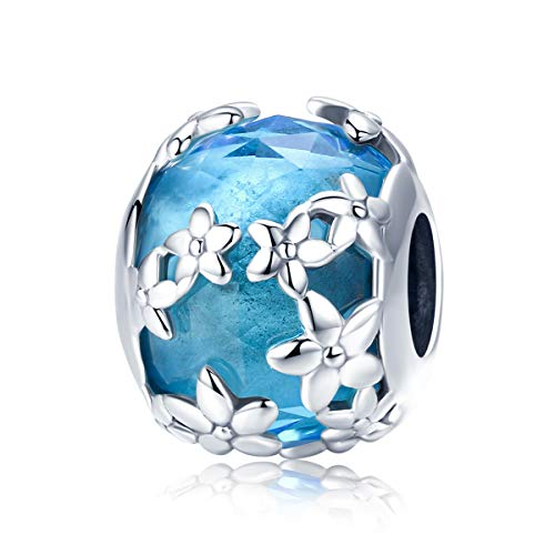 Blue Flower Glass Bead 925 Sterling Silver Murano Glass Beads Lampwork Spacer Charm Christmas Beads Love fit Pandora Charms for Women Bracelet (C)