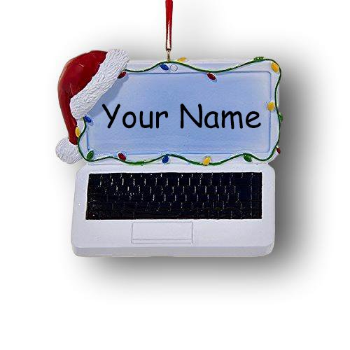 Kurt Adler Personalized Laptop Personal Computer with Santa Stocking Cap and Colorful Christmas Lights Hanging Christmas Ornament with Custom Name]()