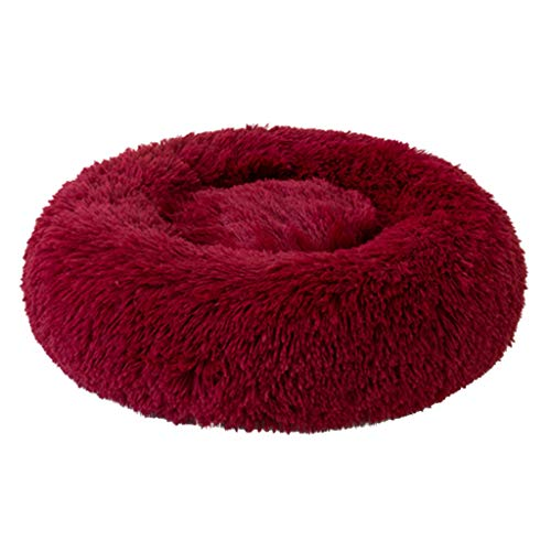 Dog Bed Wine - Soft Pet Bed,Comfortable Fluffy Plush Kennel Dogs Deep Sleeping Oval Bed for Small Dog Cat (L, Wine)