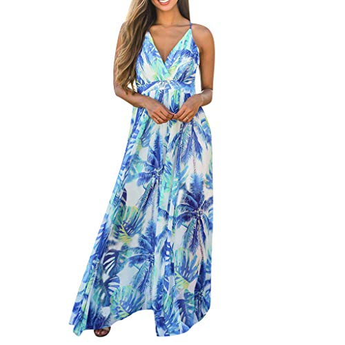 - New in Respctful✿ Women Summer Loose Maxi Party Dress Sexy Deep V-Neck Backless Split Long Dress Hawaiian Spaghetti Strap Light Blue