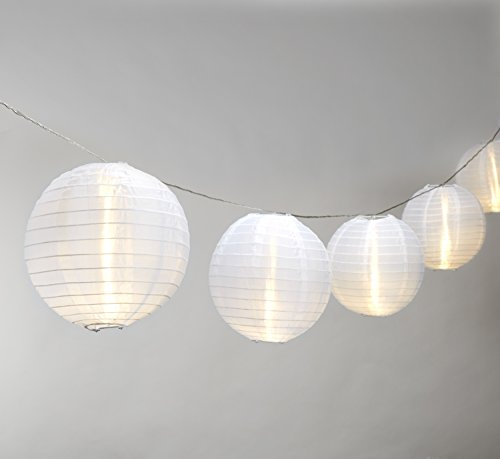 Strand of 10 Lantern String Lights, Connectable, 6 White Lanterns, Warm White LEDs, Water Resistant, Indoor/Outdoor Use, 21 Feet, Expandable to 100 LEDs, UL Listed